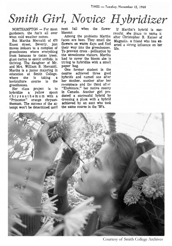 Newspaper article about student Martha Mercaldi and her hybridization project